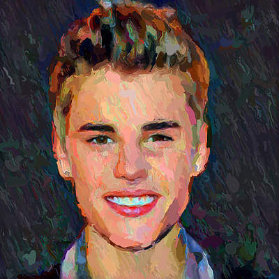 Bieber Digital Art - Justin Bieber Portrait by Yury Malkov