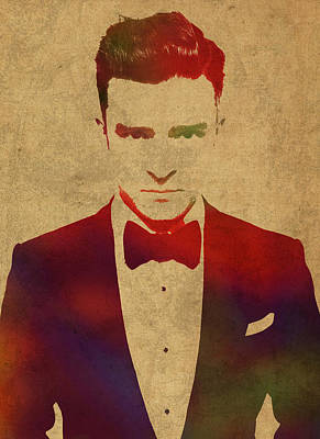 Justin Mixed Media - Justin Timberlake Watercolor Portrait by Design Turnpike