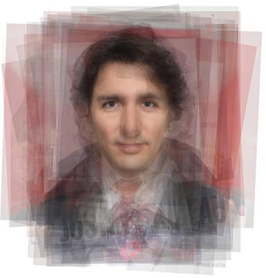 Liberal Digital Art - Justin Trudeau Portrait by Steve Socha