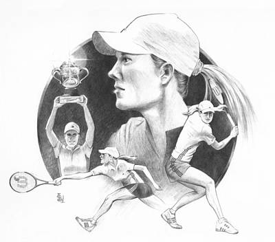 Tennis Drawing - Justine by Joe Winkler