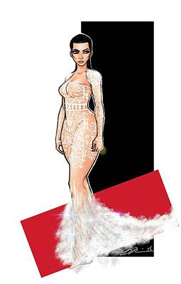 Kim Kardashian Drawing - K by Steven Paul