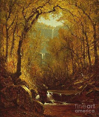 Leaves Painting - Kaaterskill Falls by Sanford Robinson Gifford