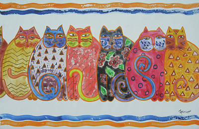 Cartoon Animals Painting - Kalico Kitties by Marsha Elliott
