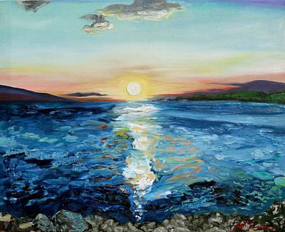 Kanaio Sunset / Between The Split Print by Joseph Demaree