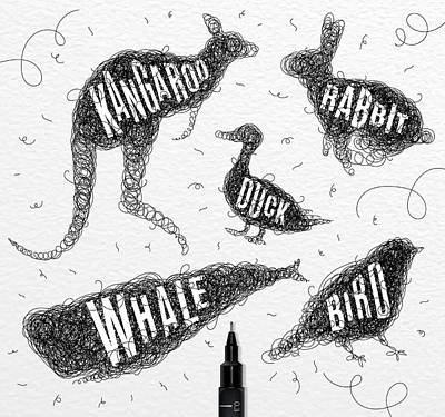 Kangaroo Drawing - Kangaroo - Rabbit - Duck - Whale - Bird In Black by Aloke Design