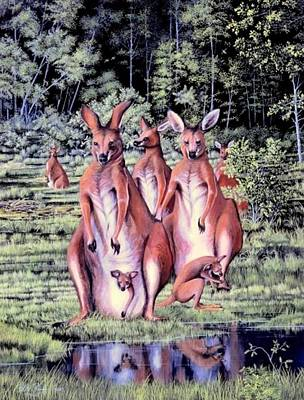 Kangaroo Mixed Media - Kangaroos And Joey by Bob Patterson