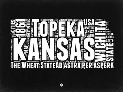 Kansas Black And White Word Cloud Map Print by Naxart Studio