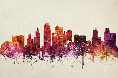 Kansas City Drawing - Kansas City Cityscape 09 by Aged Pixel