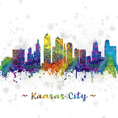 Kansas City Drawing - Kansas City Missouri Color 03sq by Aged Pixel