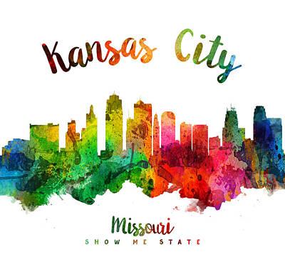 Towns Digital Art - Kansas City Missouri Skyline 24 by Aged Pixel