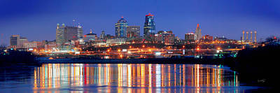 Kansas City Missouri Skyline At Night Print by Jon Holiday
