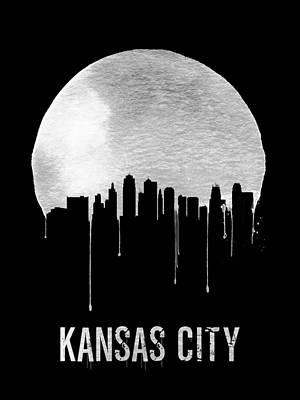 Europe Digital Art - Kansas City Skyline Black by Naxart Studio