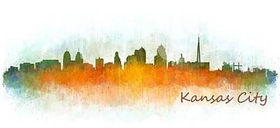 Kansas Painting - Kansas City Skyline Hq V3 by HQ Photo