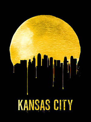 Europe Digital Art - Kansas City Skyline Yellow by Naxart Studio