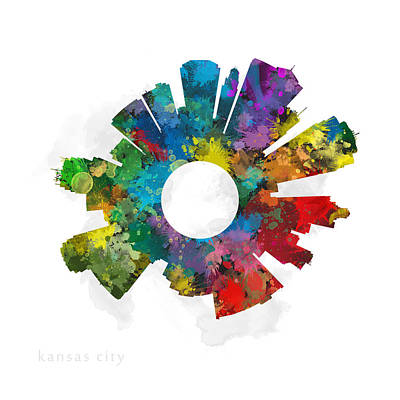 Splatter Photograph - Kansas City Small World Cityscape Skyline Abstract by Jurq Studio