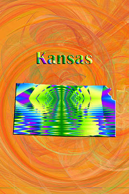 Fractal Painting - Kansas Map by Roger Wedegis