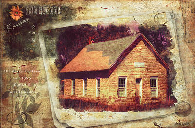 Kansas Old Stone Schoolhouse Print by Anna Louise