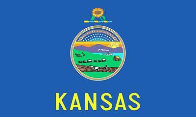 Kansas State Flag Print by American School
