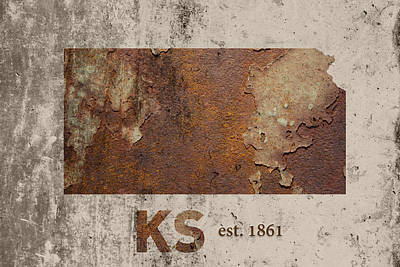 Kansas State Map Industrial Rusted Metal On Cement Wall With Founding Date Series 040 Print by Design Turnpike