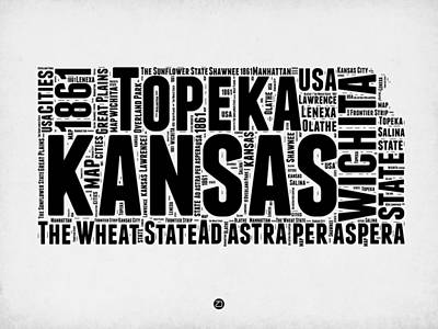 Word Cloud Mixed Media - Kansas Word Cloud Map 2 by Naxart Studio