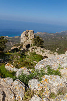 Old Photograph - Kantara Castle Oversees Blue Mediterranean Sea by Iordanis Pallikaras