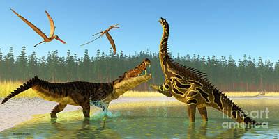 Monster Digital Art - Kaprosuchus Swamp by Corey Ford