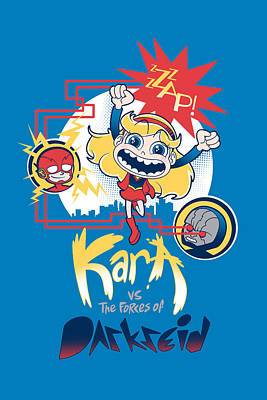 Kara Vs The Forces Of Darkseid Print by Little Black Heart