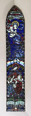 Mother Mary Photograph - Karl Parsons Stained Glass Window Bibury by Tim Gainey