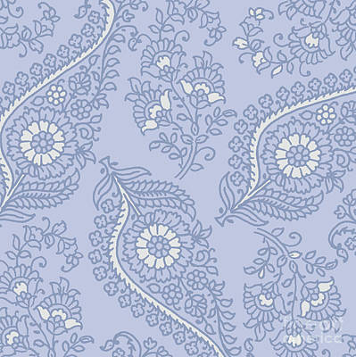 Kasbah Blue Paisley II Print by Mindy Sommers