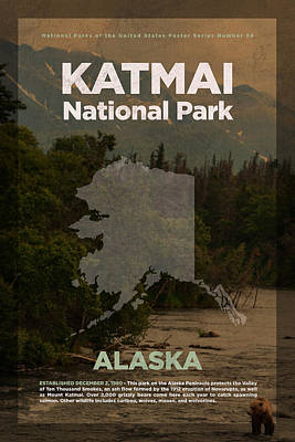 National Parks Mixed Media - Katmai National Park In Alaska Travel Poster Series Of National Parks Number 34 by Design Turnpike