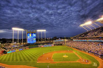 Royals Photograph - Kauffman Stadium Twilight by Shawn Everhart