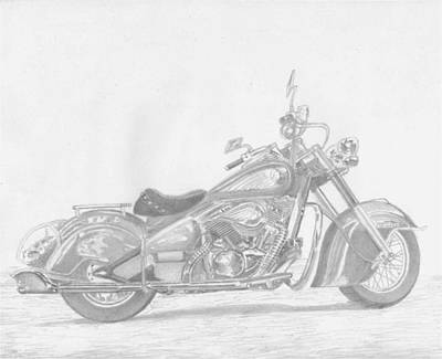 Kawasaki Vulcan Drifter Motorcycle Art Print      Original by Stephen Rooks