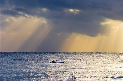 Kayak At Dawn Print by Mike  Dawson