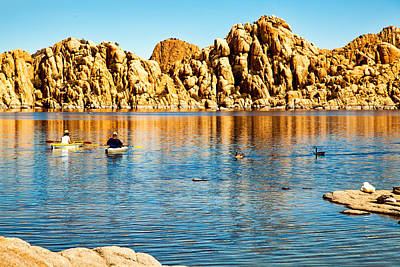 Kayaking On Watson Lake In Prescott Arizona Print by Susan Schmitz