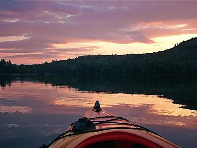 Kayaking Under A Gorgeous Sundown Sky On Concord Pond Original by Joy Nichols
