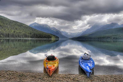 Kayaks On Bowman Lake Print by Donna Caplinger