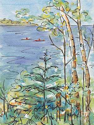 Spruce Painting - Kayaks On The Lake by Pat Katz
