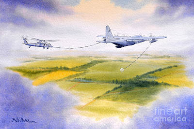 Kc-130 Tanker Aircraft Refueling Pave Hawk Print by Bill Holkham