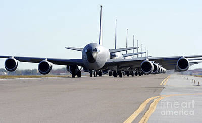 Runway Photograph - Kc-135 Stratotankers In Lephant Walk by Stocktrek Images