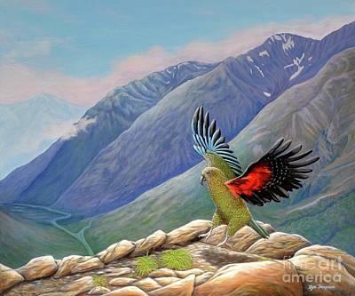 Surreal Painting - Kea Landing Arthur's Pass by Lyn Simpson