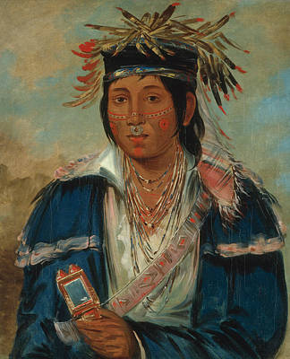 Ra Painting - Kee-mo-ra-nia, No English, A Dandy by George Catlin