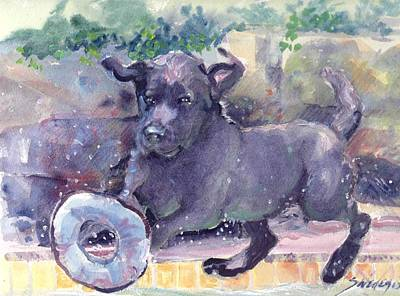 Dogs Painting - Keep Your Eye On The Prize by Sheila Wedegis