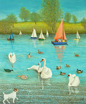 Swan Painting - Keeping A Watchful Eye by Pat Scott