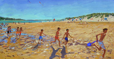 Summer Fun Painting - Keeping Fit, Wells Next To The Sea  by Andrew Macara