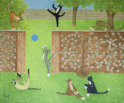 Humorous Cat Painting - Keeping On Ones Toes by Pat Scott