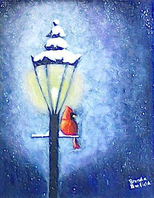 Night Lamp Painting - Keeping Warm by Brenda Bonfield