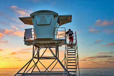 Keeping Watch - La Jolla Lifeguard Photograph Print by Duane Miller