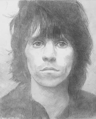 Keith Richards Drawing - Keith Richards '72 by Glenn Daniels