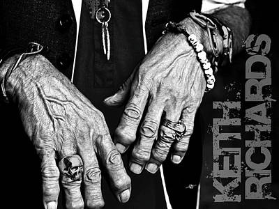 Cool Jewelry Painting - Keith Richards Hands Rolling Stones Black And White Name by Tony Rubino