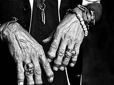 Cool Jewelry Painting - Keith Richards Hands Rolling Stones Black And White by Tony Rubino